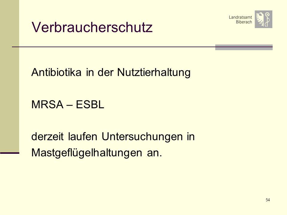 54 Verbraucherschutz Antibiotika in der Nutztierhaltung MRSA – ESBL derzeit laufen Untersuchungen in Mastgeflügelhaltungen an.