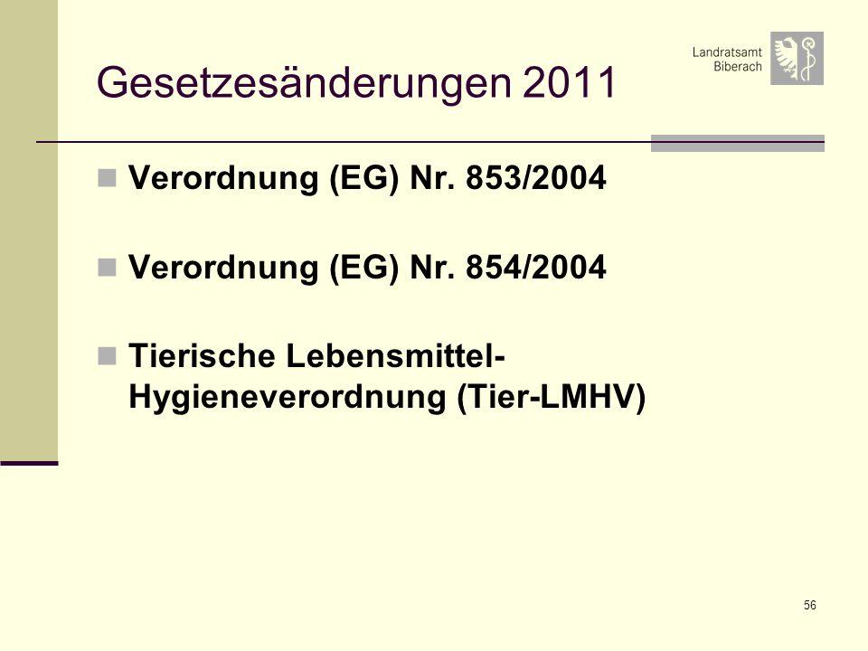 56 Gesetzesänderungen 2011 Verordnung (EG) Nr. 853/2004 Verordnung (EG) Nr. 854/2004 Tierische Lebensmittel- Hygieneverordnung (Tier-LMHV)