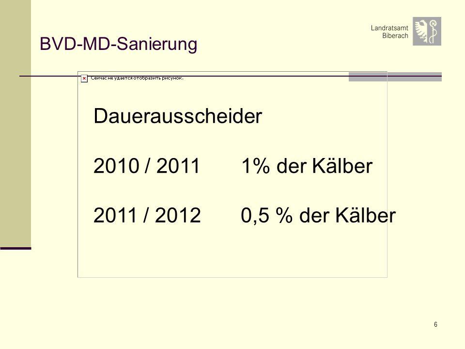 6 BVD-MD-Sanierung Dauerausscheider 2010 / 2011 1% der Kälber 2011 / 2012 0,5 % der Kälber