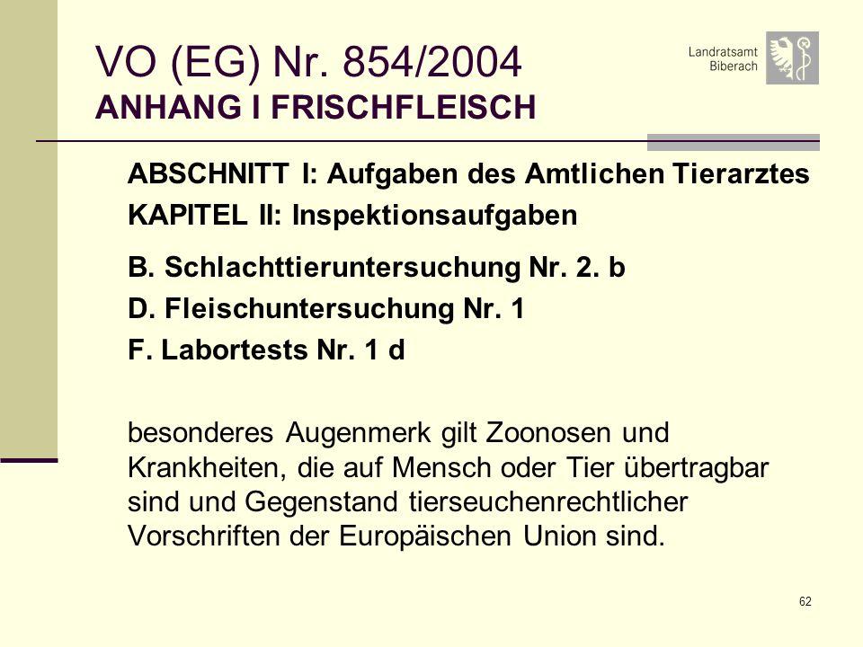 62 VO (EG) Nr. 854/2004 ANHANG I FRISCHFLEISCH ABSCHNITT I: Aufgaben des Amtlichen Tierarztes KAPITEL II: Inspektionsaufgaben B. Schlachttieruntersuch