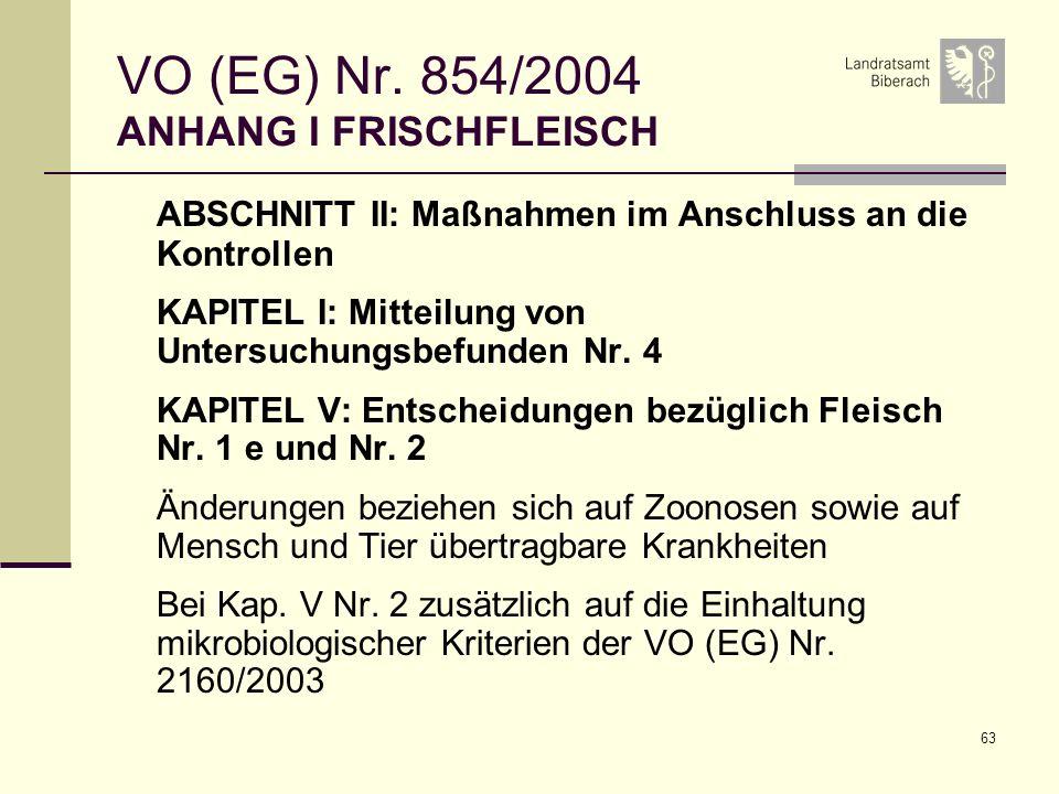 63 VO (EG) Nr. 854/2004 ANHANG I FRISCHFLEISCH ABSCHNITT II: Maßnahmen im Anschluss an die Kontrollen KAPITEL I: Mitteilung von Untersuchungsbefunden