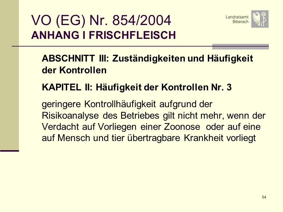 64 VO (EG) Nr. 854/2004 ANHANG I FRISCHFLEISCH ABSCHNITT III: Zuständigkeiten und Häufigkeit der Kontrollen KAPITEL II: Häufigkeit der Kontrollen Nr.