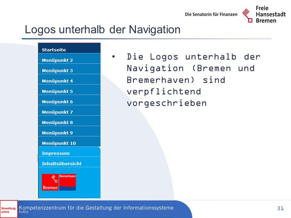 31 Logos unterhalb der Navigation Die Logos unterhalb der Navigation (Bremen und Bremerhaven) sind verpflichtend vorgeschrieben