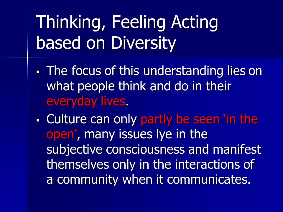 Thinking, Feeling Acting based on Diversity The The focus of this understanding lies on what people think and do in their everyday lives lives.