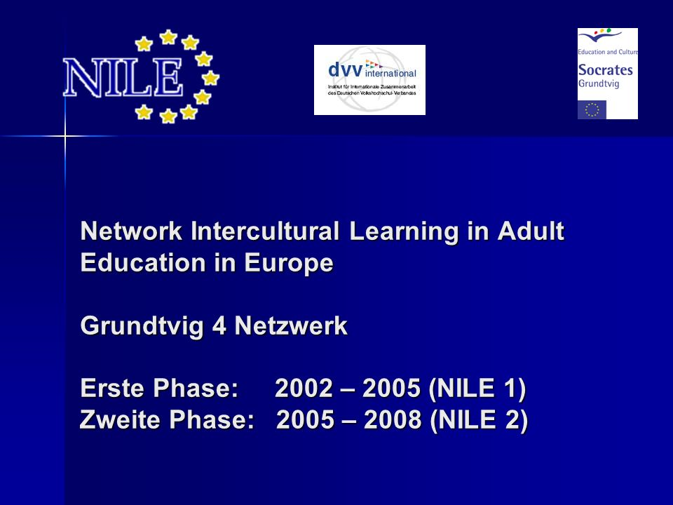 Network Intercultural Learning in Adult Education in Europe Grundtvig 4 Netzwerk Erste Phase: 2002 – 2005 (NILE 1) Zweite Phase: 2005 – 2008 (NILE 2)