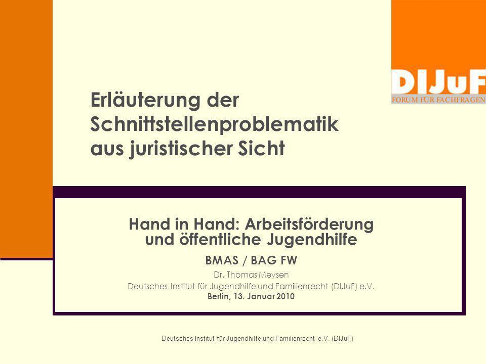 Deutsches Institut für Jugendhilfe und Familienrecht e.V. (DIJuF) Erläuterung der Schnittstellenproblematik aus juristischer Sicht Hand in Hand: Arbei