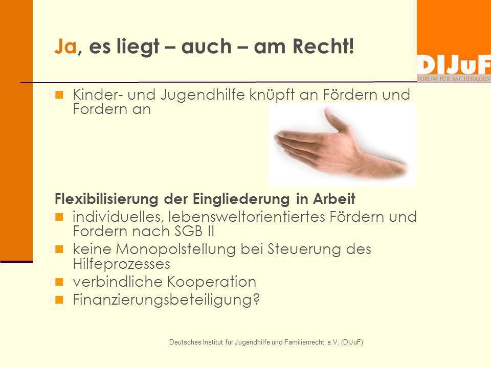 Deutsches Institut für Jugendhilfe und Familienrecht e.V. (DIJuF) Ja, es liegt – auch – am Recht! Kinder- und Jugendhilfe knüpft an Fördern und Forder
