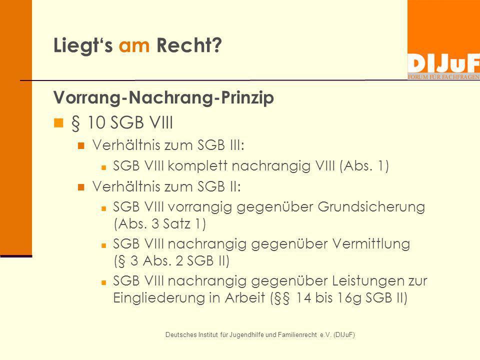 Deutsches Institut für Jugendhilfe und Familienrecht e.V. (DIJuF) Liegts am Recht? Vorrang-Nachrang-Prinzip § 10 SGB VIII Verhältnis zum SGB III: SGB