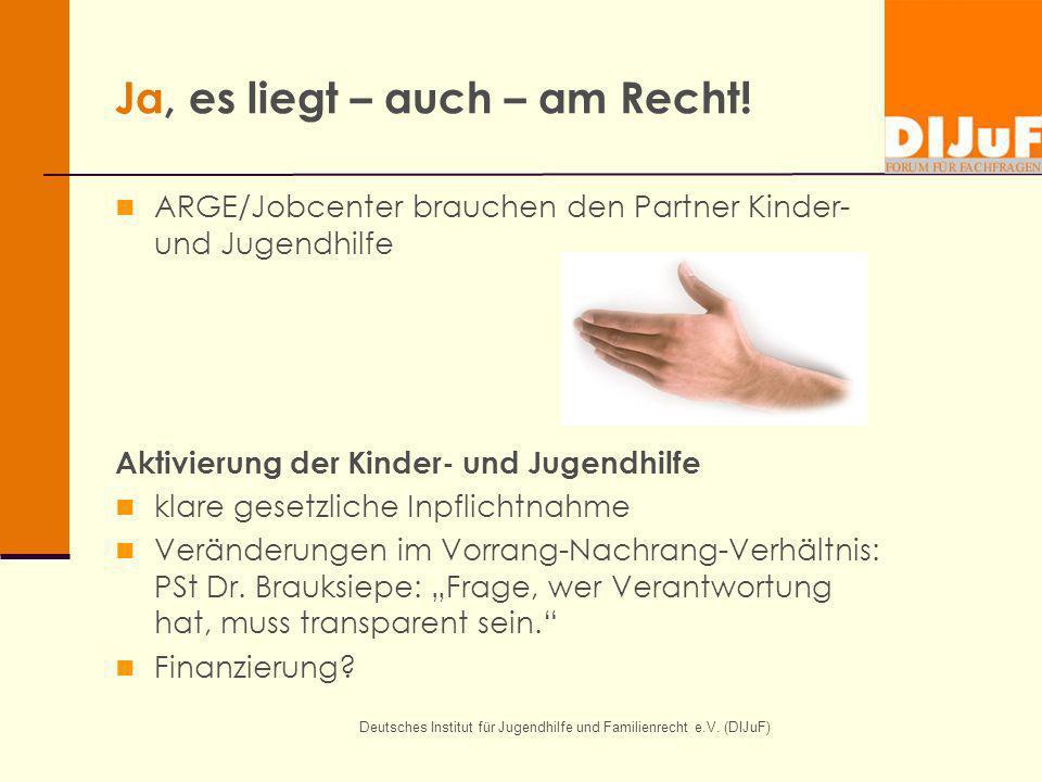 Deutsches Institut für Jugendhilfe und Familienrecht e.V. (DIJuF) Ja, es liegt – auch – am Recht! ARGE/Jobcenter brauchen den Partner Kinder- und Juge