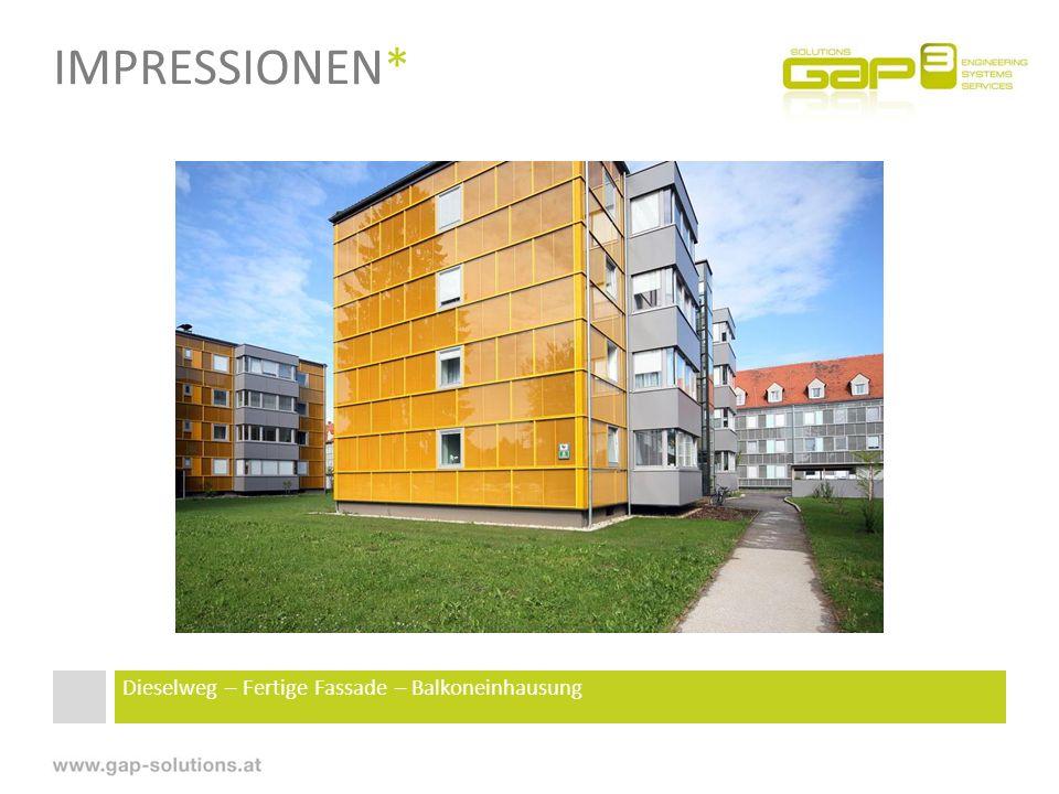 IMPRESSIONEN* Dieselweg – Fertige Fassade – Balkoneinhausung