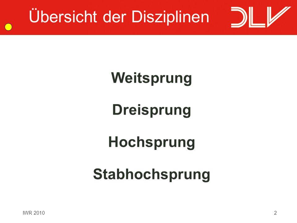 3 IWR 2010 Benötigtes Personal Schiedsrichter Obmann Protokollführer Weiten-/Höhenmesser Windmesser Helfer Allgemeines