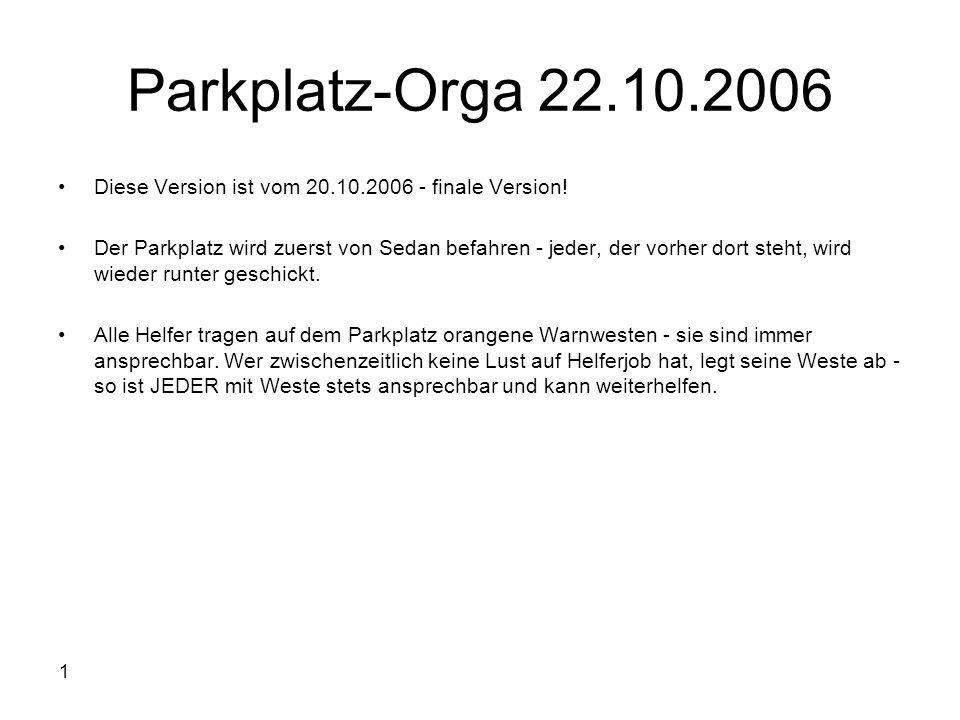 1 Parkplatz-Orga 22.10.2006 Diese Version ist vom 20.10.2006 - finale Version! Der Parkplatz wird zuerst von Sedan befahren - jeder, der vorher dort s
