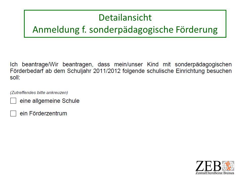 Detailansicht Anmeldung f. sonderpädagogische Förderung
