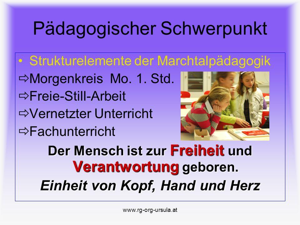 www.rg-org-ursula.at Eckpunkte 4 Verschränkter LehrerInneneinsatz in den Modellklassen ( AHS- und HS-Pädagogen ) Integration als grundsätzliche Werthaltung der Offenheit gegenüber Kindern mit besonderen Bedürfnissen (Fordern/Fördern) Differenzierte Berechtigungen am Ende der 8.