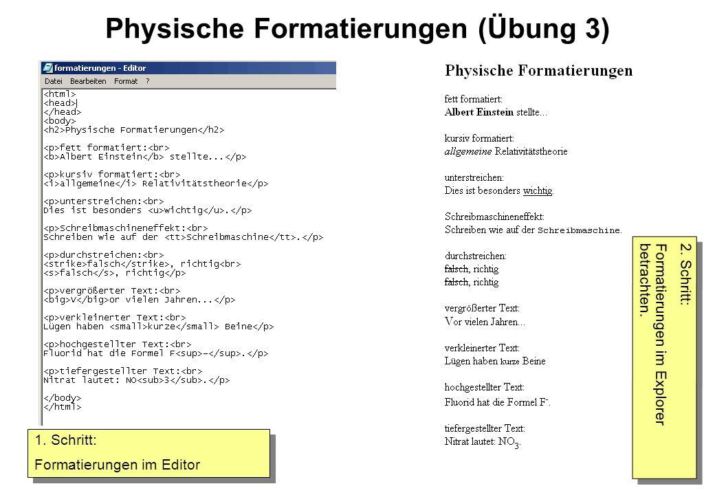 Physische Formatierungen (Übung 3) 1. Schritt: Formatierungen im Editor 1. Schritt: Formatierungen im Editor 2. Schritt: Formatierungen im Explorer be