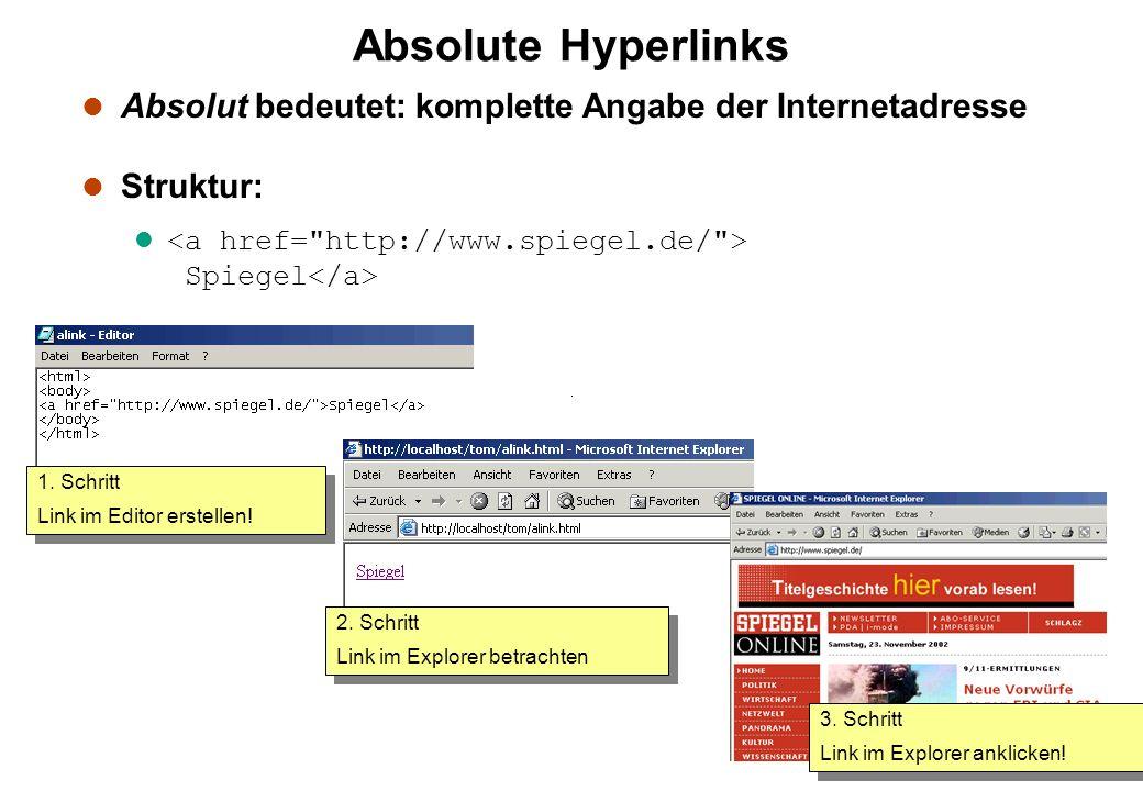Absolute Hyperlinks l Absolut bedeutet: komplette Angabe der Internetadresse l Struktur: l Spiegel 1. Schritt Link im Editor erstellen! 1. Schritt Lin