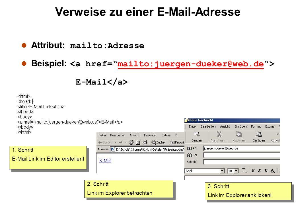 Verweise zu einer E-Mail-Adresse Attribut: mailto:Adresse Beispiel: mailto:juergen-dueker@web.de E-Mail 1. Schritt E-Mail Link im Editor erstellen! 1.