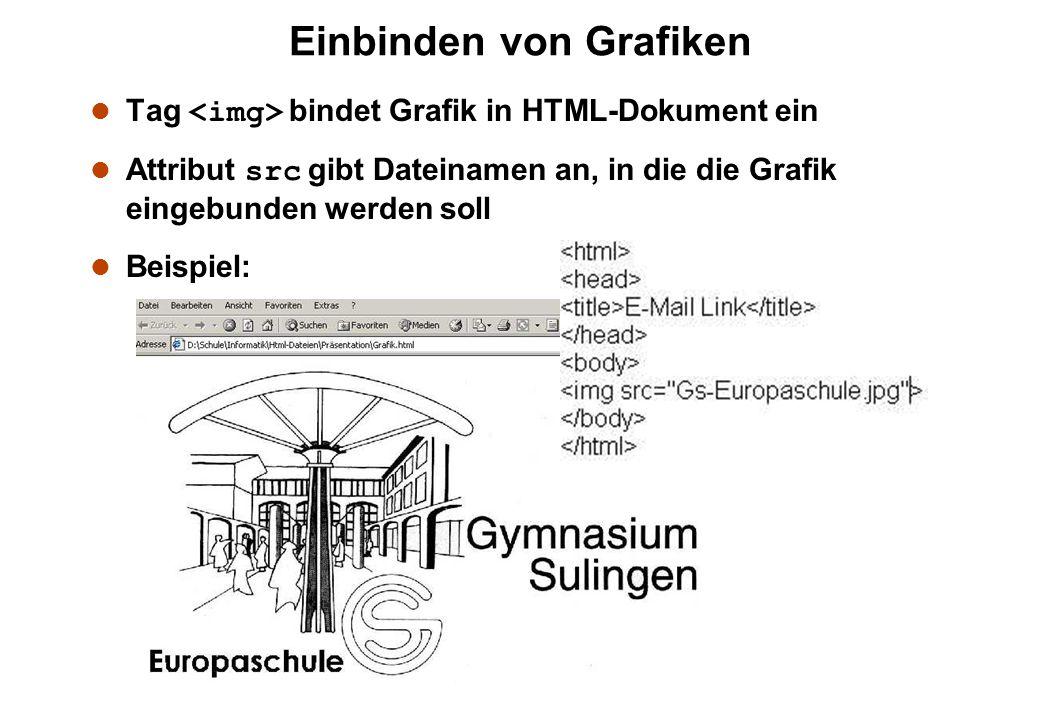 Tag bindet Grafik in HTML-Dokument ein Attribut src gibt Dateinamen an, in die die Grafik eingebunden werden soll l Beispiel: Einbinden von Grafiken