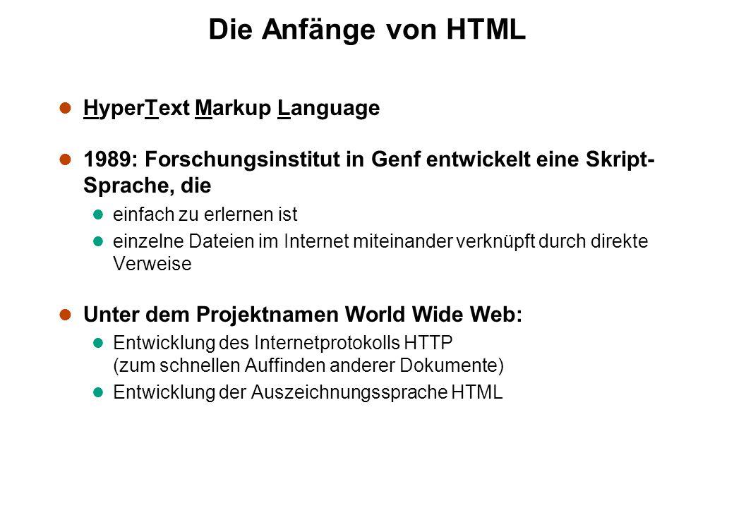 Die Anfänge von HTML l HyperText Markup Language l 1989: Forschungsinstitut in Genf entwickelt eine Skript- Sprache, die l einfach zu erlernen ist l einzelne Dateien im Internet miteinander verknüpft durch direkte Verweise l Unter dem Projektnamen World Wide Web: l Entwicklung des Internetprotokolls HTTP (zum schnellen Auffinden anderer Dokumente) l Entwicklung der Auszeichnungssprache HTML