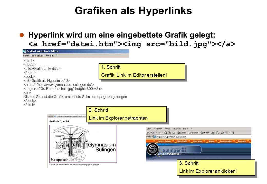Grafiken als Hyperlinks Hyperlink wird um eine eingebettete Grafik gelegt: 2. Schritt Link im Explorer betrachten 2. Schritt Link im Explorer betracht