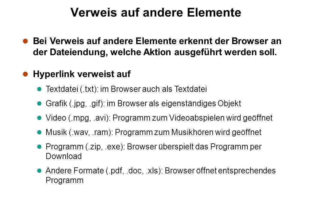 Verweis auf andere Elemente l Bei Verweis auf andere Elemente erkennt der Browser an der Dateiendung, welche Aktion ausgeführt werden soll. l Hyperlin