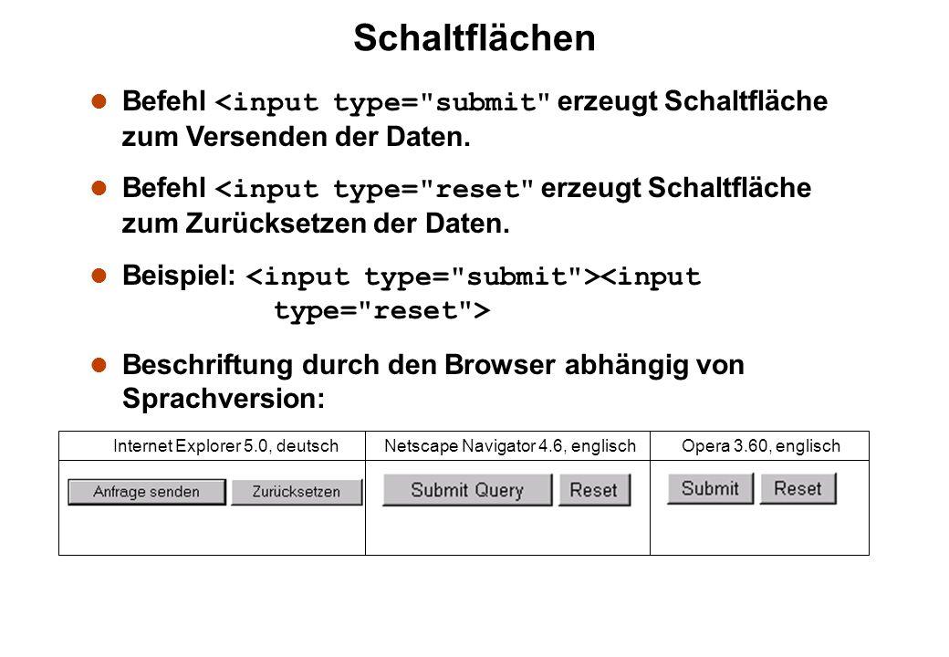 Schaltflächen Befehl <input type= submit erzeugt Schaltfläche zum Versenden der Daten.