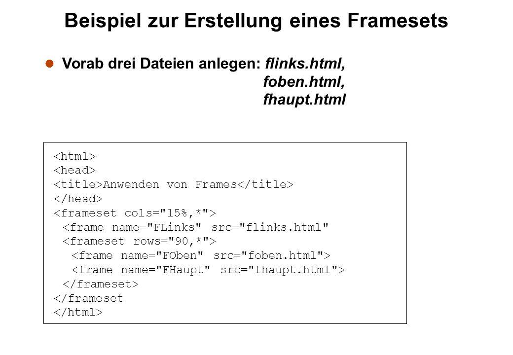 Beispiel zur Erstellung eines Framesets Anwenden von Frames l Vorab drei Dateien anlegen: flinks.html, foben.html, fhaupt.html
