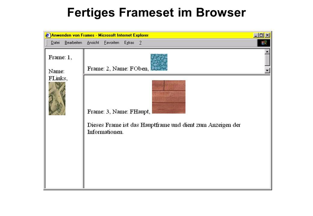 Fertiges Frameset im Browser