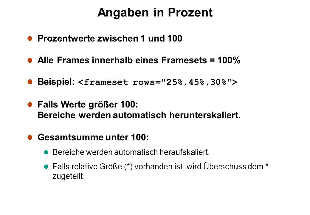 Angaben in Prozent l Prozentwerte zwischen 1 und 100 l Alle Frames innerhalb eines Framesets = 100% Beispiel: l Falls Werte größer 100: Bereiche werden automatisch herunterskaliert.