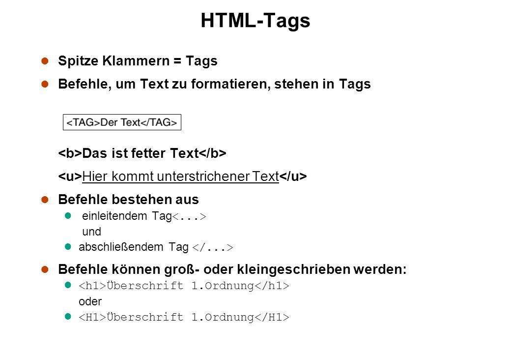 HTML-Tags l Spitze Klammern = Tags l Befehle, um Text zu formatieren, stehen in Tags Das ist fetter Text Hier kommt unterstrichener Text l Befehle bestehen aus einleitendem Tag und abschließendem Tag l Befehle können groß- oder kleingeschrieben werden: l Überschrift 1.Ordnung oder l Überschrift 1.Ordnung