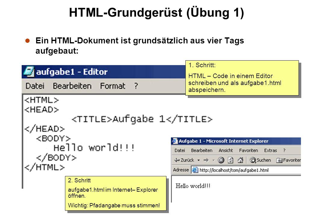 HTML-Grundgerüst (Übung 1) l Ein HTML-Dokument ist grundsätzlich aus vier Tags aufgebaut: 1. Schritt: HTML – Code in einem Editor schreiben und als au