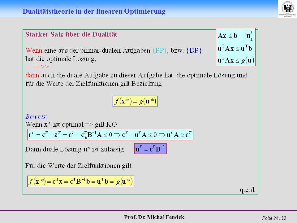 Prof. Dr. Michal Fendek Folie Nr.:13 Dualitätstheorie in der linearen Optimierung