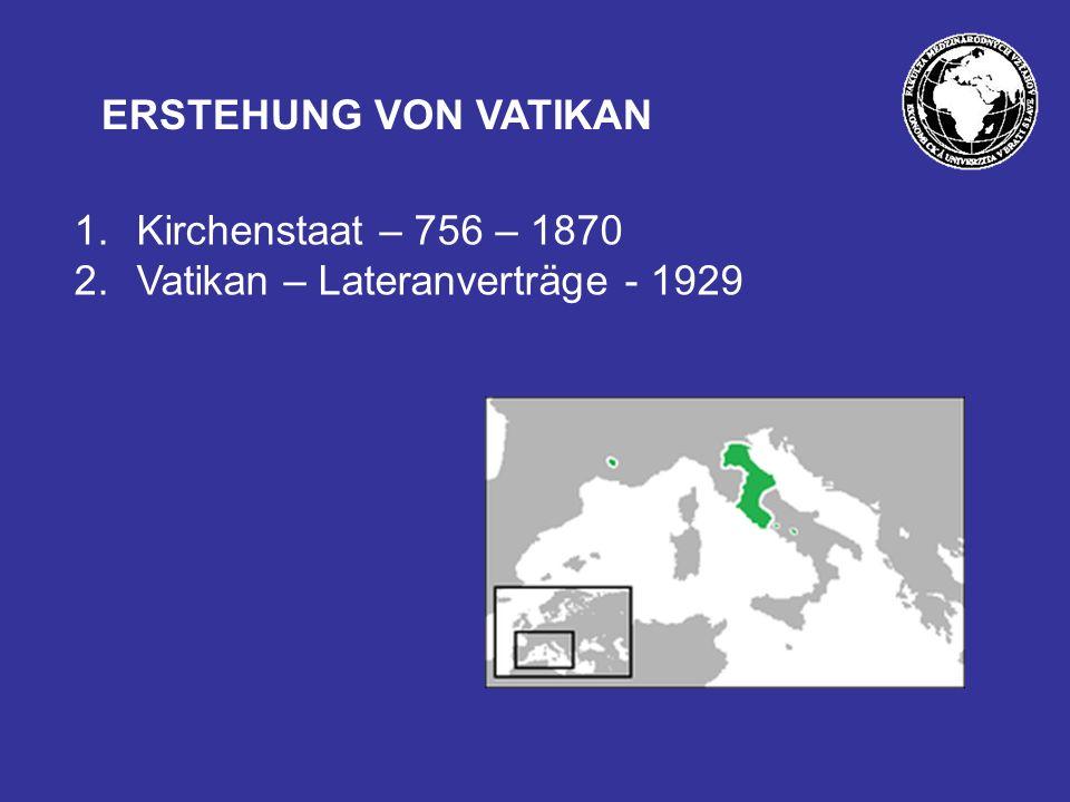 1.Kirchenstaat – 756 – 1870 2.Vatikan – Lateranverträge - 1929