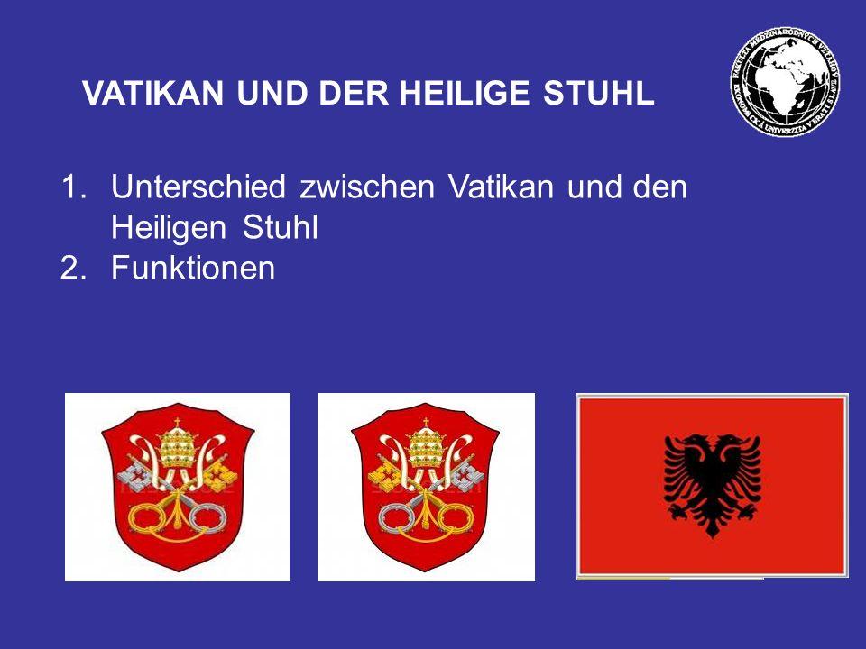 VATIKAN UND DER HEILIGE STUHL 1.Unterschied zwischen Vatikan und den Heiligen Stuhl 2.Funktionen