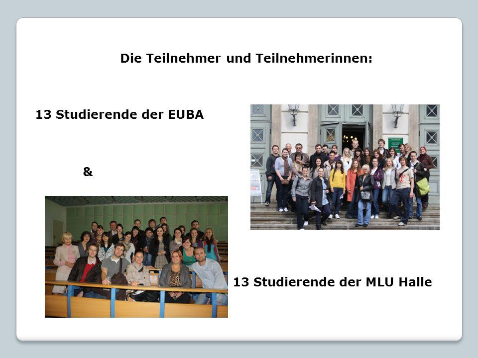 Die Teilnehmer und Teilnehmerinnen: 13 Studierende der EUBA & 13 Studierende der MLU Halle