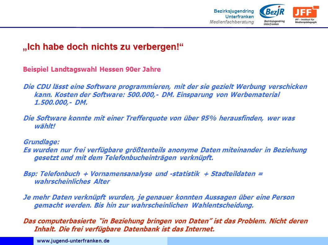 www.jugend-unterfranken.de Bezirksjugendring Unterfranken Medienfachberatung Ich habe doch nichts zu verbergen.