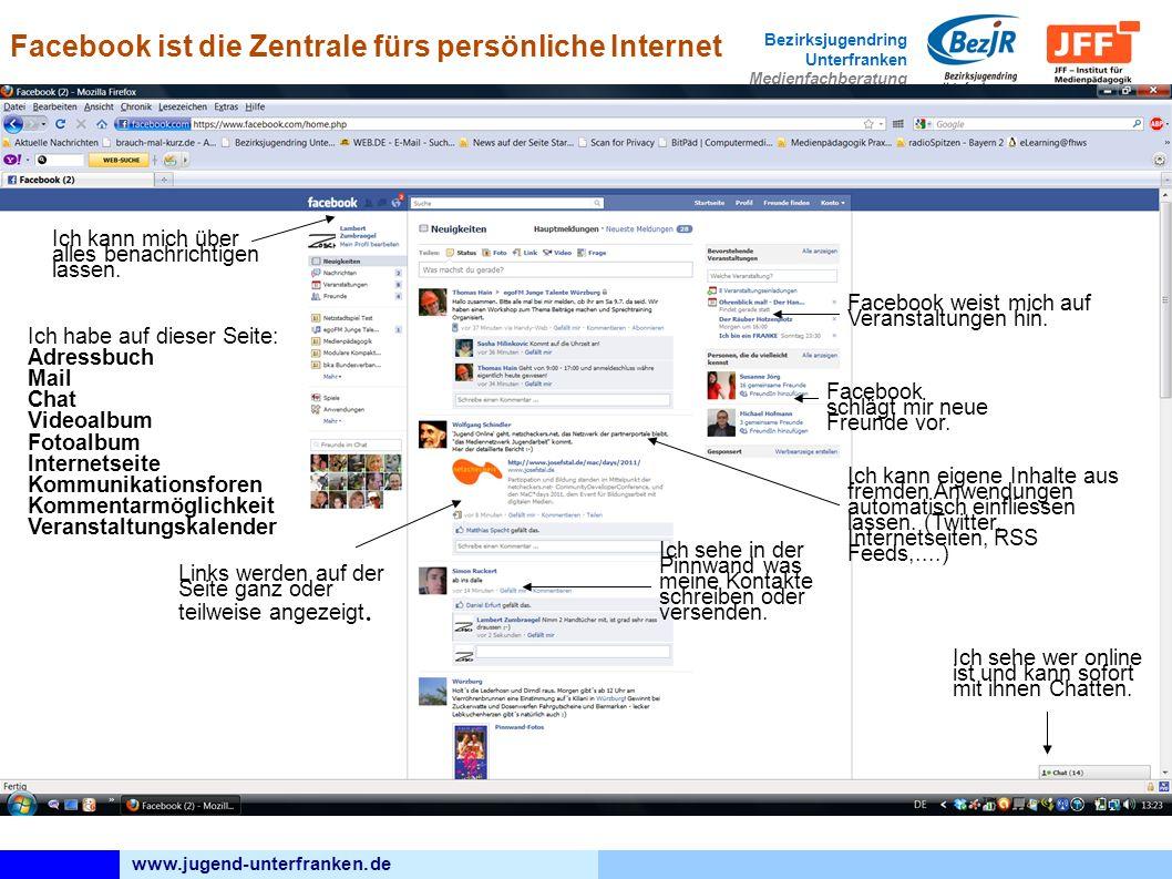 www.jugend-unterfranken.de Bezirksjugendring Unterfranken Medienfachberatung Ich sehe wer online ist und kann sofort mit ihnen Chatten.