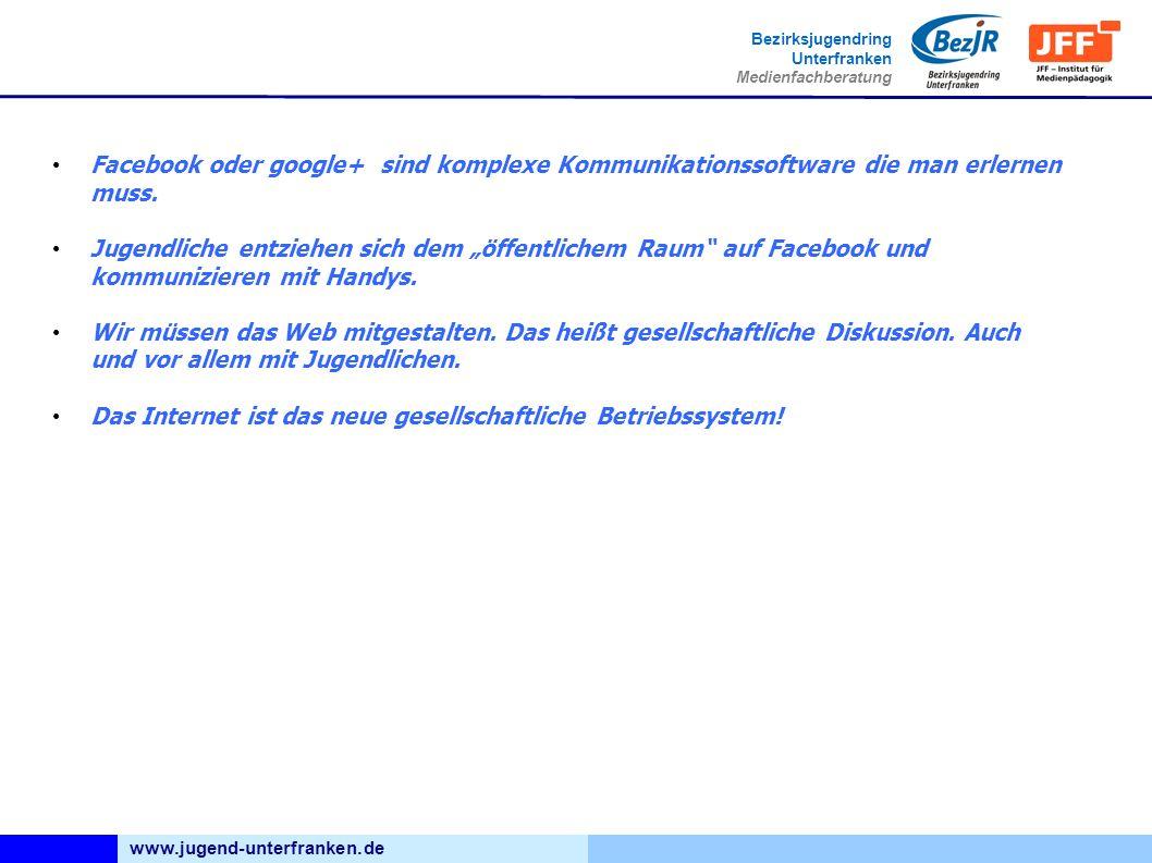 www.jugend-unterfranken.de Bezirksjugendring Unterfranken Medienfachberatung Facebook oder google+ sind komplexe Kommunikationssoftware die man erlernen muss.