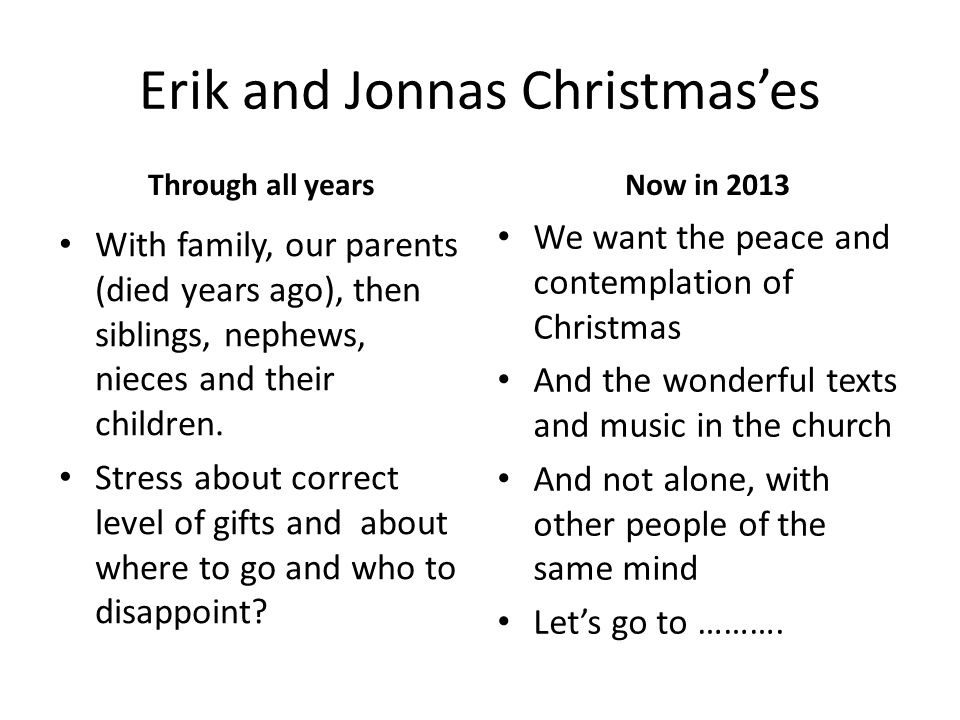 Erik and Jonnas Christmases Through all years With family, our parents (died years ago), then siblings, nephews, nieces and their children.