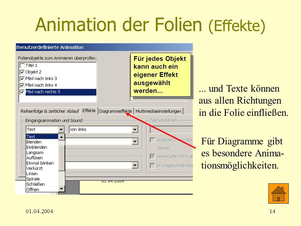 01.04.200414 Animation der Folien (Effekte) Für jedes Objekt kann auch ein eigener Effekt ausgewählt werden...... und Texte können aus allen Richtunge