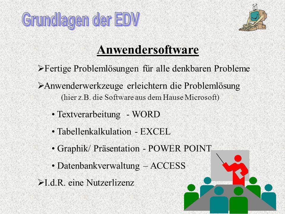 Systemsoftware Betriebssystem: Windows..., OS/2, Linux, Unix,.... Steuert, organisiert und kontrolliert das System Verbindet softwaremäßig Zentraleinh