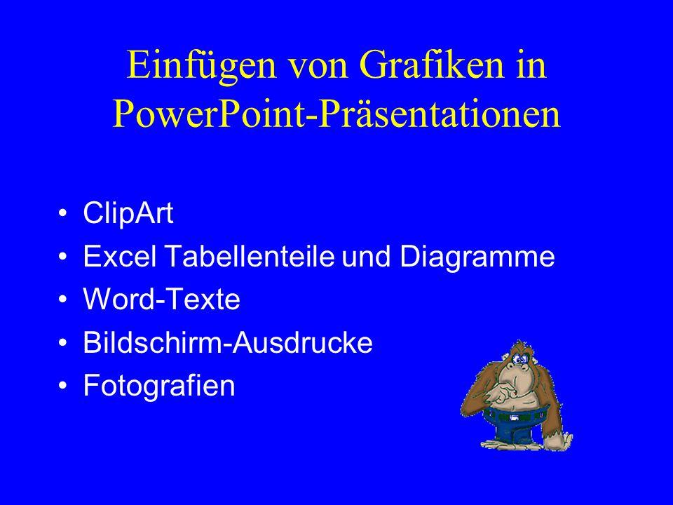 Einfügen von Grafiken in PowerPoint-Präsentationen ClipArt Excel Tabellenteile und Diagramme Word-Texte Bildschirm-Ausdrucke Fotografien