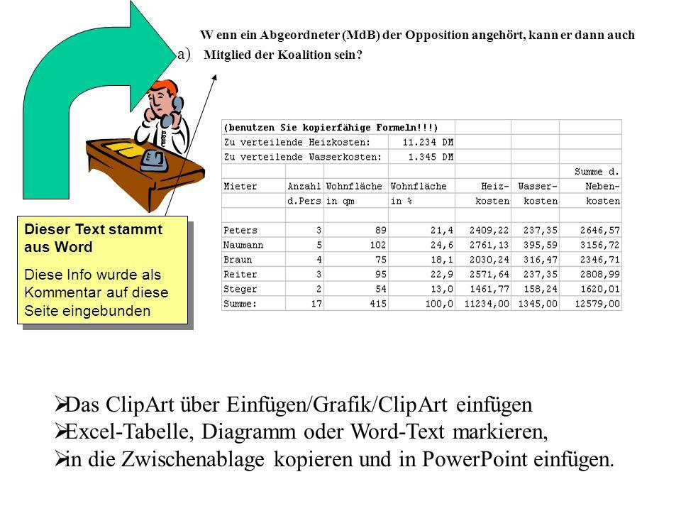 Das ClipArt über Einfügen/Grafik/ClipArt einfügen Excel-Tabelle, Diagramm oder Word-Text markieren, in die Zwischenablage kopieren und in PowerPoint e