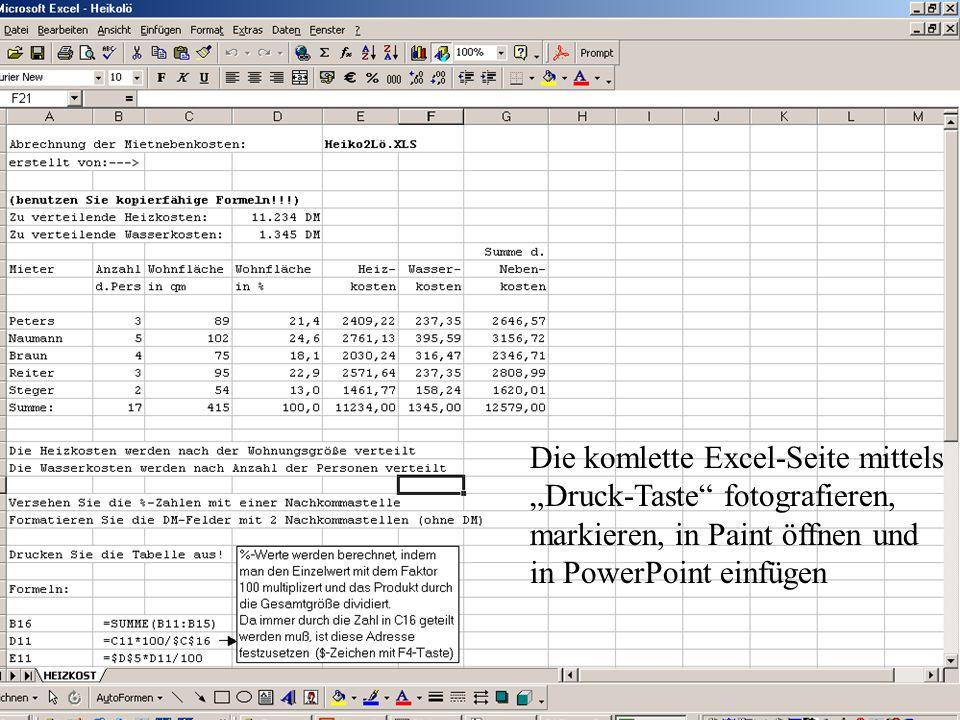 Die komlette Excel-Seite mittels Druck-Taste fotografieren, markieren, in Paint öffnen und in PowerPoint einfügen