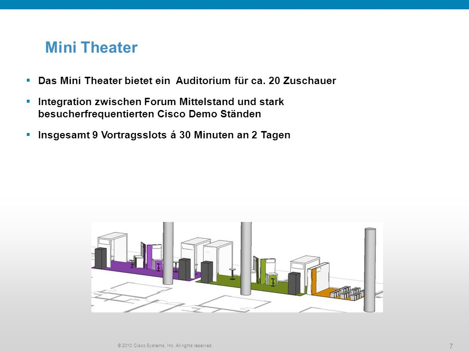 © 2010 Cisco Systems, Inc. All rights reserved. 7 Das Mini Theater bietet ein Auditorium für ca.