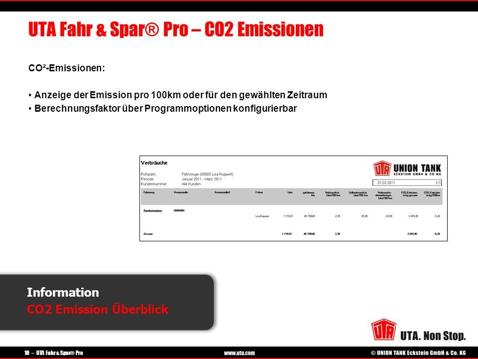 10 – UTA Fahr & Spar® Pro Information CO2 Emission Überblick UTA Fahr & Spar® Pro – CO2 Emissionen CO²-Emissionen: Anzeige der Emission pro 100km oder