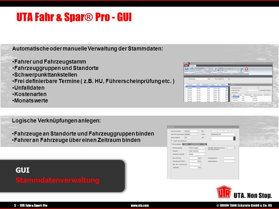 3 – UTA Fahr & Spar® Pro GUI Stammdatenverwaltung UTA Fahr & Spar® Pro - GUI Automatische oder manuelle Verwaltung der Stammdaten: Fahrer und Fahrzeug