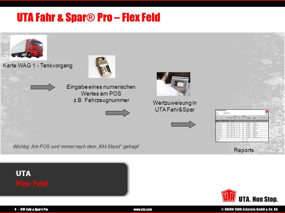 4 – UTA Fahr & Spar® Pro UTA Flex Feld UTA Fahr & Spar® Pro – Flex Feld Karte WAG 1 - Tankvorgang Eingabe eines numerischen Wertes am POS z.B. Fahrzeu