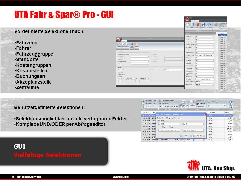 5 – UTA Fahr & Spar® Pro GUI Vielfältige Selektionen UTA Fahr & Spar® Pro - GUI Vordefinierte Selektionen nach: Fahrzeug Fahrer Fahrzeuggruppe Standor