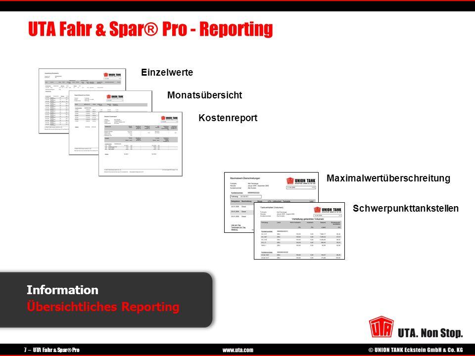 7 – UTA Fahr & Spar® Pro Monatsübersicht Einzelwerte Schwerpunkttankstellen Maximalwertüberschreitung Kostenreport Information Übersichtliches Reporti